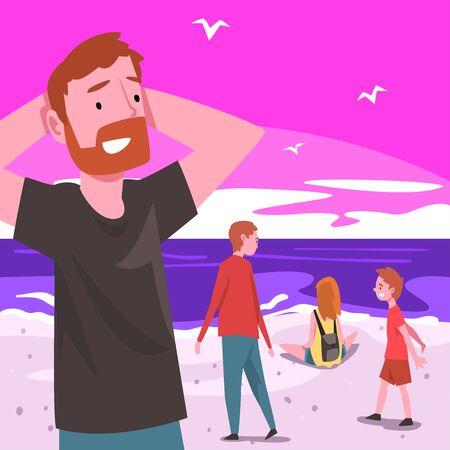 Ludzie relaksujący się nad morzem w okresie letnim na zachód słońca, tropikalny krajobraz kurortu z oceanem lub morzem, człowiek i dzieci chodzą i ciesząc się wakacjami na plaży ilustracji wektorowych płaski. Ilustracje wektorowe