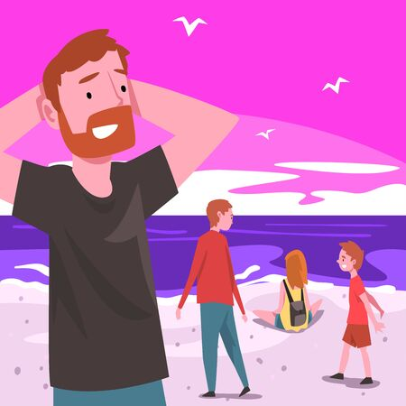 People Relaxing on Seaside at Summer Time on Sunset, Tropical Resort Landscape with Ocean or Sea, Man and Kids Walking and Enjoying Vacation on Beach Flat Vector Illustration.