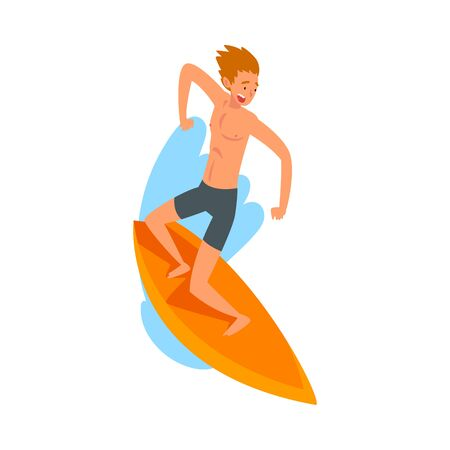 Male Surfer Character Riding Waves with Surfboard, Summer Recreational Beach Water Sport Vector Illustration on White Background. Illustration