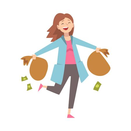 Happy Wealthy Girl with Money Bags, Lucky Successful Rich Woman Millionaire Vector Illustration on White Background.