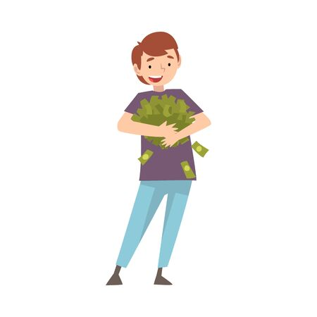 Chico rico feliz con mucho dinero, afortunado persona rica exitosa ilustración vectorial sobre fondo blanco.