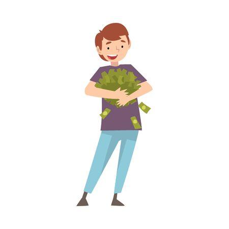Glücklicher wohlhabender Kerl mit viel Geld, glückliche erfolgreiche reiche Person-Vektor-Illustration auf weißem Hintergrund.