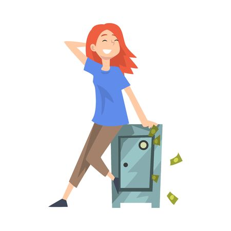 Happy Wealthy Young Woman Sitting on Safe with Money, Lucky Successful Rich Girl Vector Illustration on White Background. Illustration