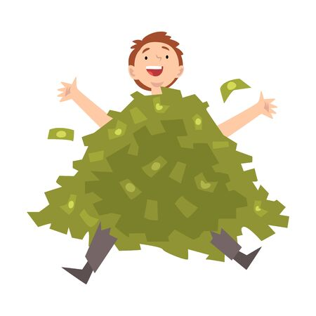 Lucky Successful Rich Guy Millionaire, Happy Wealthy Person Sitting in Pile of Money Vector Illustration on White Background.