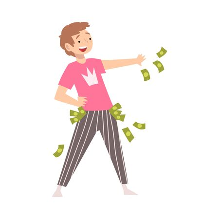 Happy Wealthy Man Throwing Money, Lucky Successful Rich Person Vector Illustration on White Background.