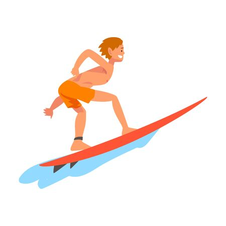Guy Surfer Character Riding on Ocean Wave with Surfboard, Recreational Beach Water Sport, Man Enjoying Summer Vacation Vector Illustration on White Background. Illustration