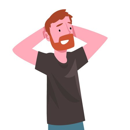Smiling Bearded Man Standing with Hands Behind His Head Vector Illustration Vector Illustration on White Background. Vetores