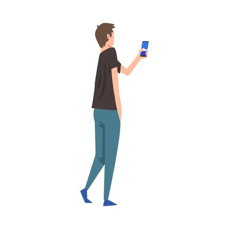 Young Man Photographing, Guy Taking Photo Using Smartphone Vector Illustration on White Background.