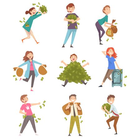 Lucky Successful Rich People Set, Happy Wealthy Men and Woman with Lot of Money Vector Illustration on White Background. Illustration
