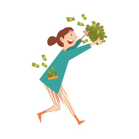 Happy Smiling Wealthy Young Woman with Lot of Money, Lucky Successful Rich Girl Vector Illustration on White Background. Illustration