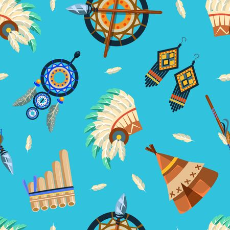 American Indians Seamless Pattern, Tribal, Aztec Design Element Can Be Used for Textile, Wallpaper, Packaging, Background Vector Illustration, Web Design.