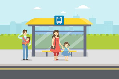 People Standing at Bus Stop in City, Parents and Kids Waiting for Public Transport Vector Illustration, Web Design.