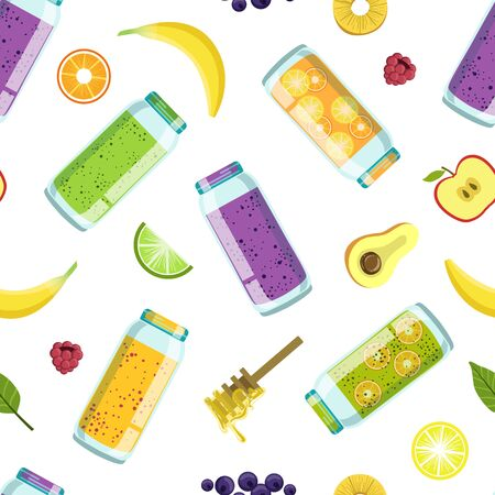 Fresh Smoothies, Vegetables and Fruits Seamless Pattern, Natural Vegetarian Healthy Food Design Element Can Be Used for Textile, Wallpaper, Packaging, Background Vector Illustration