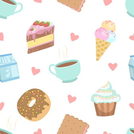Cute Desserts Seamless Pattern, Cake, Cupcake, Donut, Cookie, Ice Cream, Cup of Coffee Design Element Can Be Used for Textile, Wallpaper, Packaging, Background Vector Illustration, Web Design. Illustration