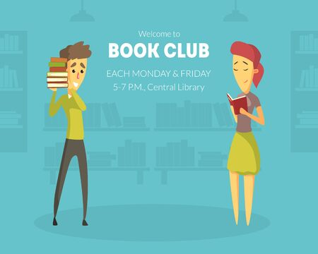 Welcome to Book Club Banner Template with Space for Text, Design Element Can Be Used for Invitation, Card, Flyer, Promo, Poster Vector Illustration