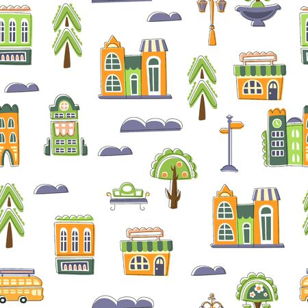 Urban Landscape Seamless Pattern, Cute Hand Drawn Public Buildings, Houses and Trees, Design Element Can Be Used for Wallpaper, Packaging, Background Vector Illustration Ilustracja