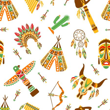 American Indians Seamless Pattern, Ethnic, Tribal Design Element Can Be Used for Textile, Wallpaper, Packaging, Background Vector Illustration, Web Design. Illustration