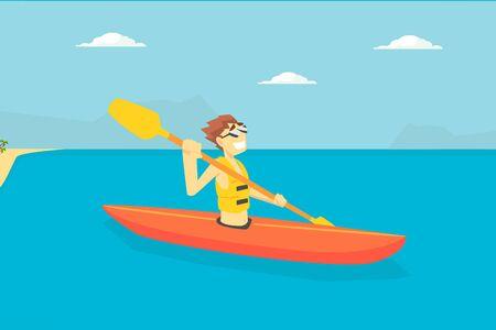 Man Paddling Kayak, Male Tourist Spending Active Vacation on Seaside, Kayaking Water Sport Vector Illustration, Web Design.