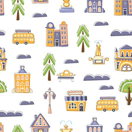 Urban Landscape Seamless Pattern, Cute Hand Drawn Public Buildings, Houses and City Street Objects, Design Element Can Be Used for Wallpaper, Packaging, Background Vector Illustration