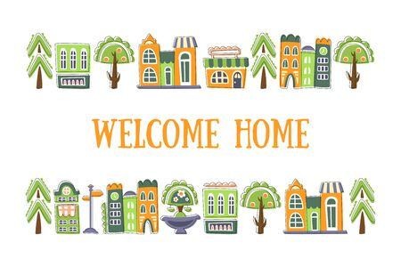 Welcome Home Banner Template with Cute Hand Drawn Public Buildings, Houses and City Street Objects Vector Illustration Stock Illustratie
