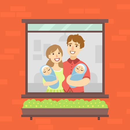 Family Looking Out of the Window, Happy Mother, Father and Their Newborn Twins Vector Illustration