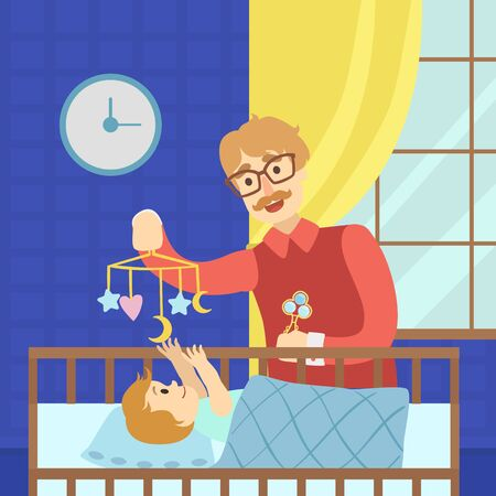 Cheerful Father Entertaining Baby in Cot with Bed Carousel Happy Family Vector Illustration Ilustração