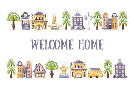 Welcome Home Banner Template with Cute Hand Drawn Buildings, and City Street Objects Vector Illustration Stock Illustratie