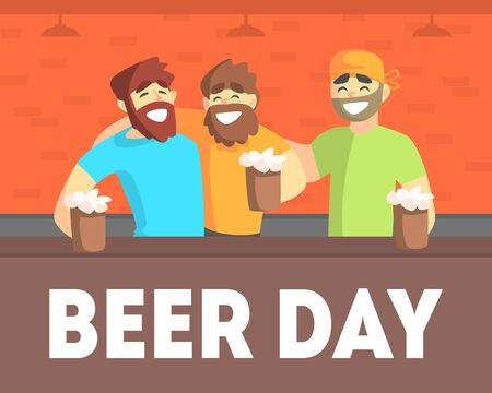 Beer Day Banner Template, Friends Having Fun and Drinking Beer in Pub Together Vector Illustration