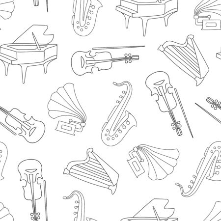 Hand Drawn Musical Instruments Seamless Pattern, Classical Orchestra Objects Design Element Can Be Used for Textile, Wallpaper, Packaging, Background Monochrome Vector Illustration. Ilustração