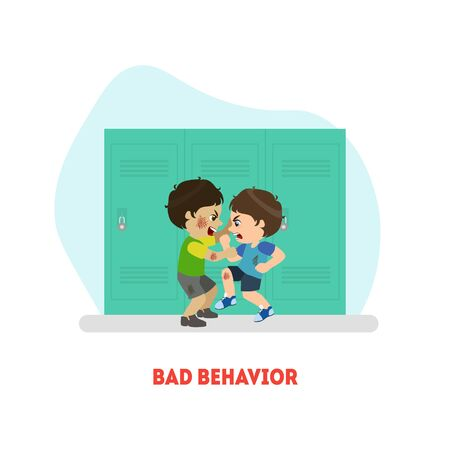 Two Boys Fighting, Bad Behavior Banner Template, Conflict Between Kids Vector Illustration in Flat Style.