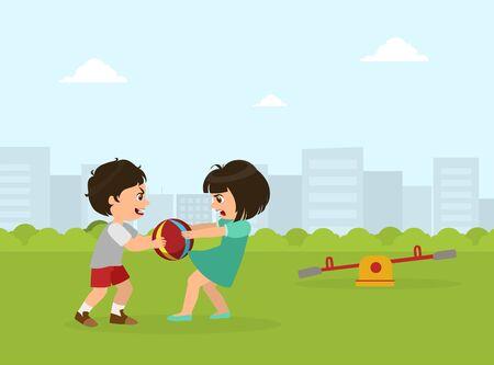 Jungen und Mädchen kämpfen um Ball, schlechtes Benehmen, Konflikt zwischen Kindern, Vektorillustration im flachen Stil.