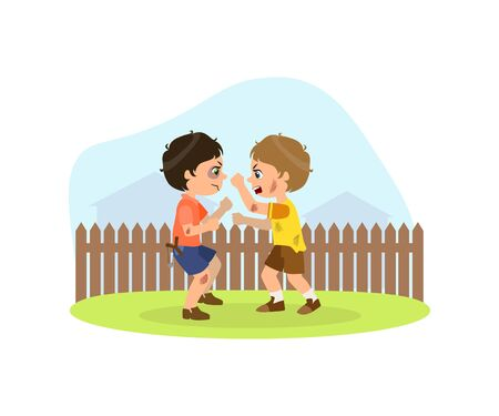 Two Aggressive Boys Fighting, Bad Behavior, Conflict Between Kids Vector Illustration in Flat Style.
