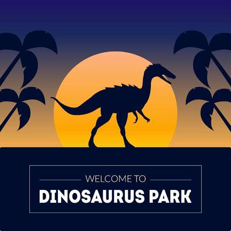 Dinosaur Park Banner Template with Silhouette of Dinosaur on Beautiful Sunset, Prehistoric Animal on Nature Background Vector Illustration