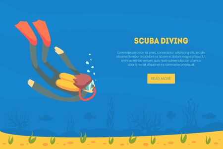 Scuba Diving Landing Page Template, Diver in Swimming Suit, Flippers and Mask Swimming Under Water, Diving school Vector Illustration, Web Design. Ilustração