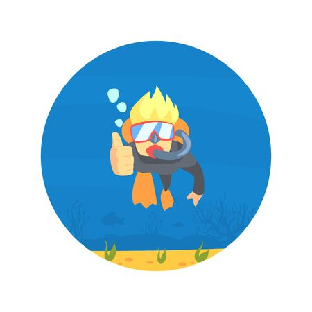 Scuba Diver in Swimming Suit, Flippers and Mask Swimming, Man Showing Thumbs Up, Underwater Sport, Hobby Vector Illustration, Web Design. Ilustração