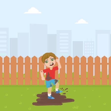 Cute Bully Boy Jumping in Dirt, Bad Behavior Vector Illustration in Flat Style. Illustration