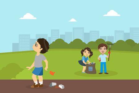 Jongen en meisje verzamelen afval in Park, pestkop jongen gooien vuilnis op straat vectorillustratie in vlakke stijl.