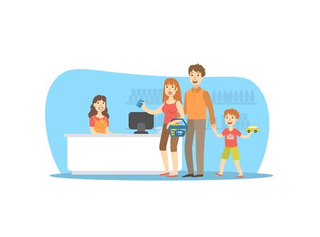 Happy Family Shopping in Supermarket, Smiling Retail Woman Cashier, Mother Paying for Purchases with Card Vector Illustration in Flat Style.