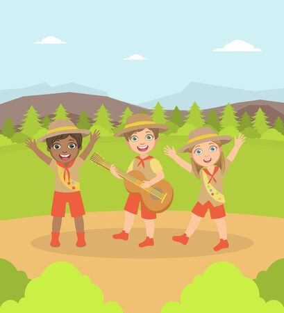 Kids Scouts Characters in Uniform Camping on Nature Landscape, Boy Playing Guitar Vector Illustration, Web Design.