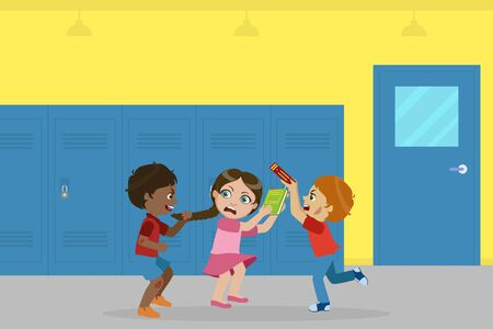 Boy and Girl Fighting for Ball, Bad Behavior, Conflict Between Kids, Mockery, Bullying at School Vector Illustration in Flat Style.