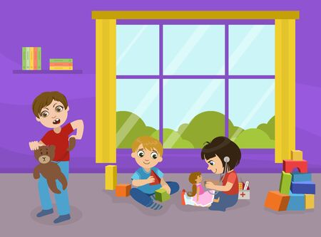 Children Playing with Toys in Playroom of Kindergarten, Aggressive Bully Boy Breaking Toys, Bad Behavior Vector Illustration