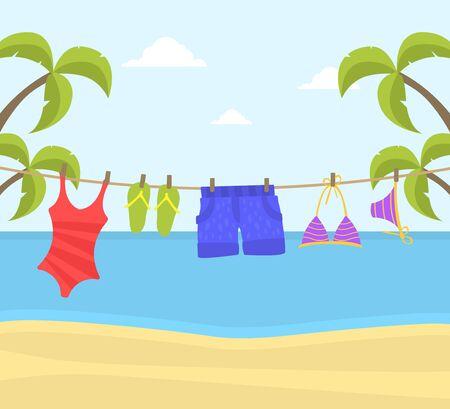 Vêtements de plage suspendus à une corde, des maillots de bain et des tongs sur une corde à linge sur un beau paysage de bord de mer Backround Vector Illustration, Web Design.