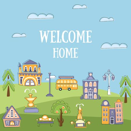 Welcome Home Banner Template, Summer Urban Landscape with Cute Hand Drawn Public Buildings and City Street, Invitation, Card, Poster or Flyer Vector Illustration Ilustracja