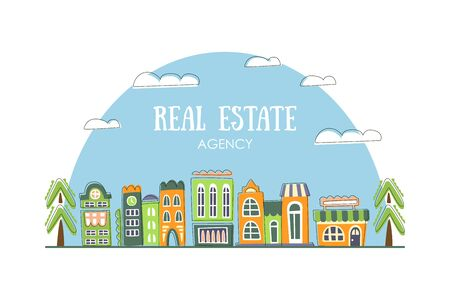 Real Estate Agency Banner Template with Cute Hand Drawn City Street Buildings Vector Illustration Ilustracja