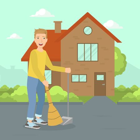 Young Man Sweeping Street with Broom, Janitor Worker with Equipment Vector Illustration, Web Design.