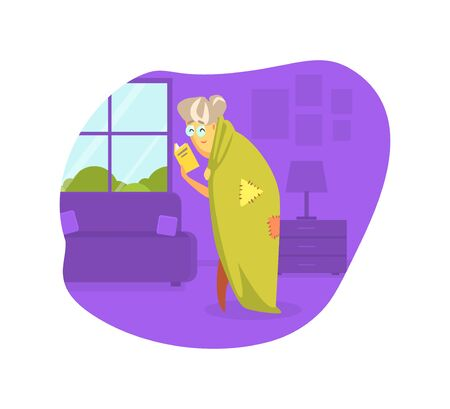 Old Woman Wrapped in Blanket Reading Book Vector Illustration