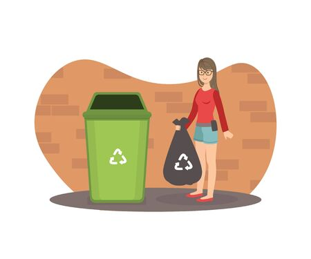 Young Woman Standing with Trash Bag Near Garbage Container, Girl Throwing Garbage into Trash Bin Vector Illustration, Web Design.
