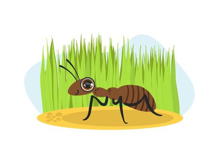 Cute Ant Insect Character on Nature Spring or Summer Background Vector Illustration