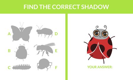Matching Game with Cute Insects, Find the Correct Shadow Educational Game for Kids Vector Illustration 向量圖像