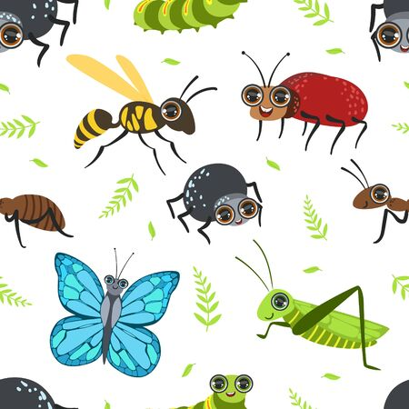 Seamless Pattern with Butterflies and Beetles, Bug, Grasshopper, Caterpillar, Ant, Wasp, Design Element Can Be Used for Wallpaper, Packaging, Background Vector Illustration Illusztráció